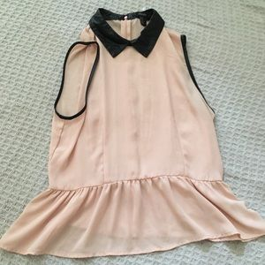 Pink top with leather collar size medium